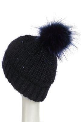 Sequins Pom Pom Beanie BLACK Knitted Hat