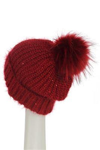 X Sequins Pom Pom Beanie Hat- RED Woman Knitted Hat
