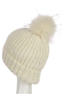 X Sequins Pom Pom Beanie Hat- WHITE  Woman Knitted Hat
