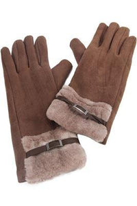 Side Buckled Faux Fur Edge Gloves- CAMEL