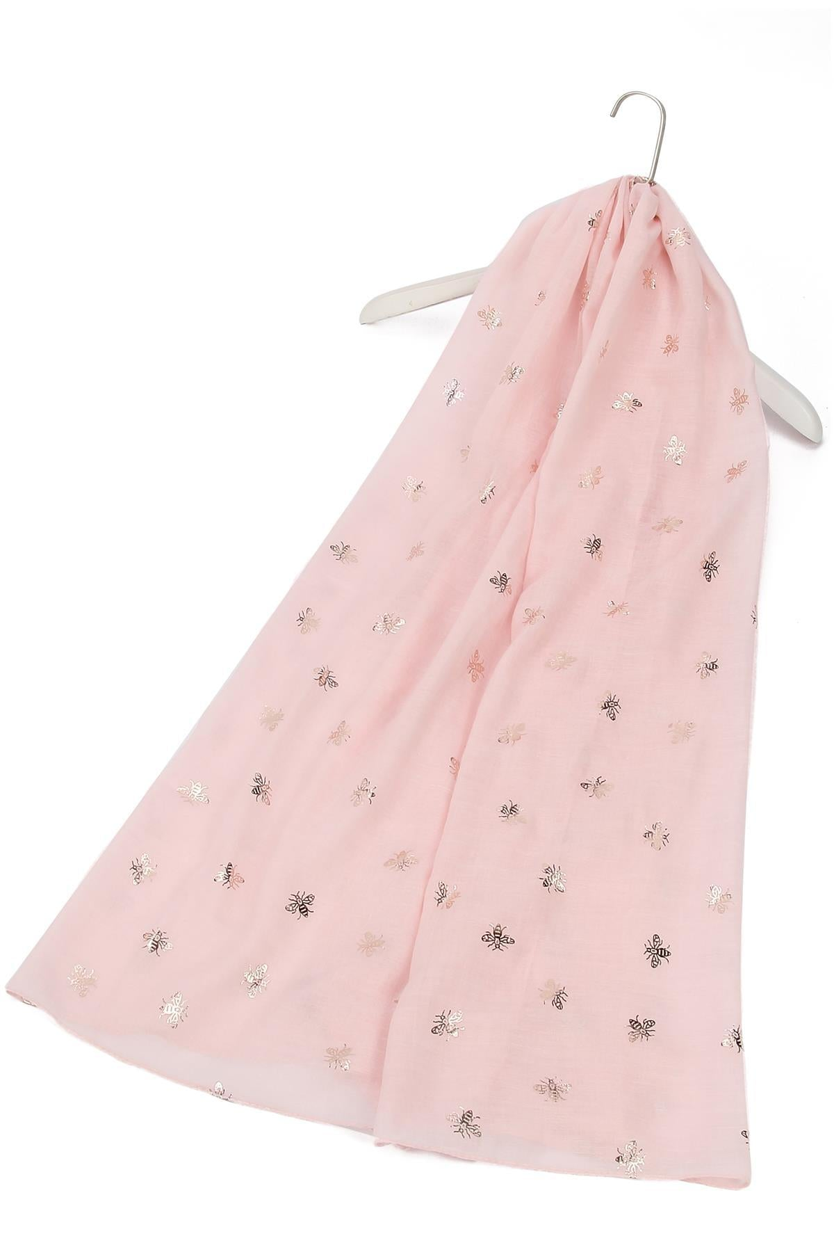 Silver Bee Print Baby Pink Scarf