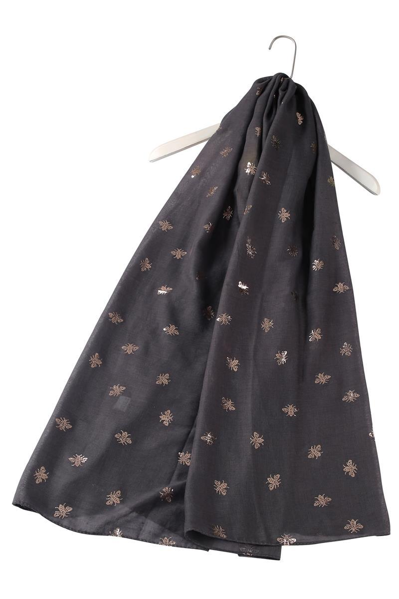 Silver Bee Print Charcoal Scarf