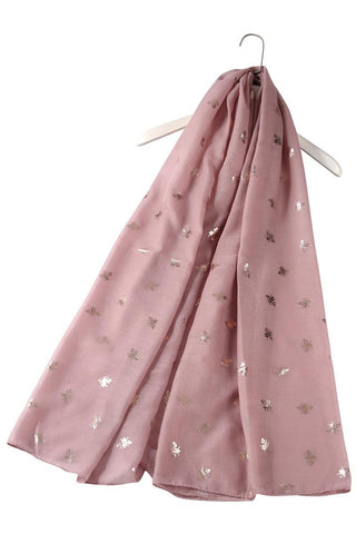 Silver Bee Print Dusty Pink Scarf