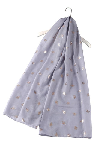 Siler Bee Print Light Grey Scarf