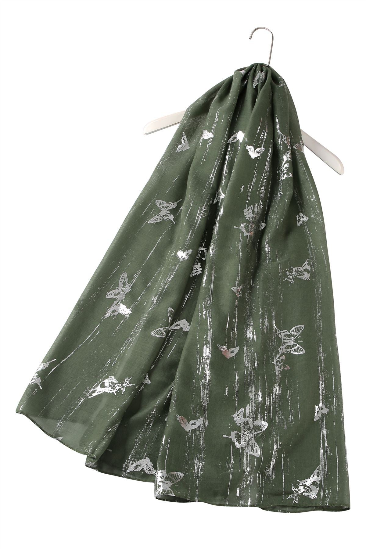 Silver Butterfly Print Green Scarf