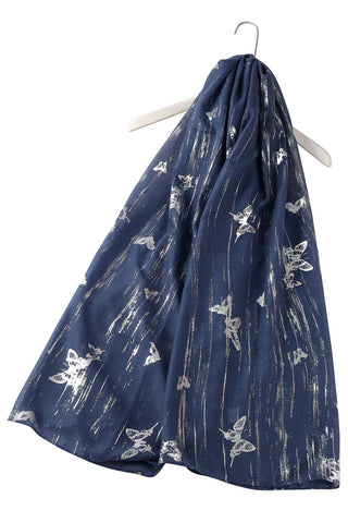 Silver Butterfly Print Denim Scarf