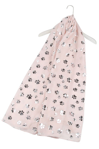 Silver Paw Print Pink Scarf