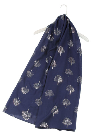 Silver Tree Print Denim Scarf