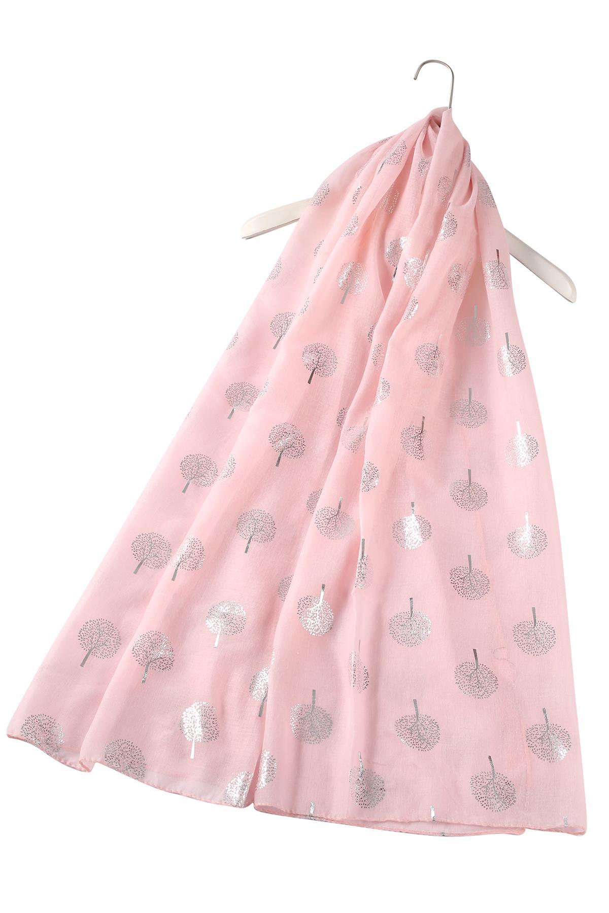 Silver Tree Print Pink Scarf