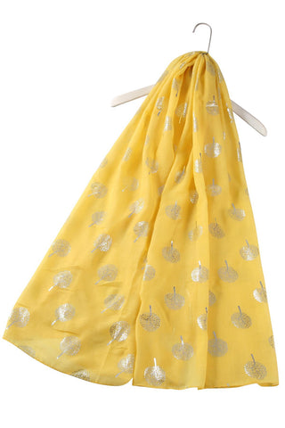 Silver Tree Print Yellow Scarf