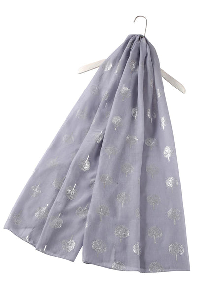 Silver Tree Print  Cotton Scarf