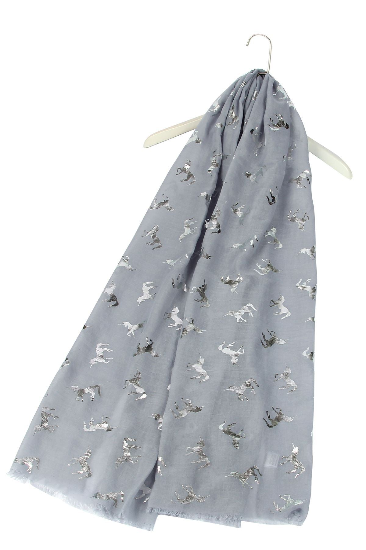 Silver Unicorn Pattern Grey Scarf