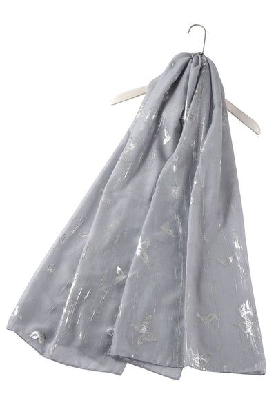 Silver Brushed Butterfly Print Cotton Scarf