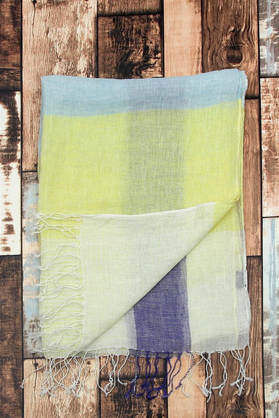 Stripe Multi Coloured Linen Scarf