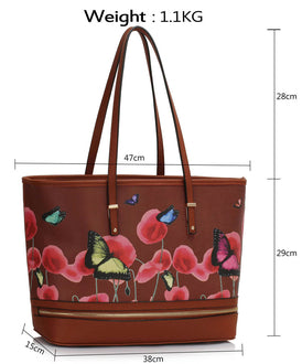 Brown Zip Detail Butterfly Print Bag
