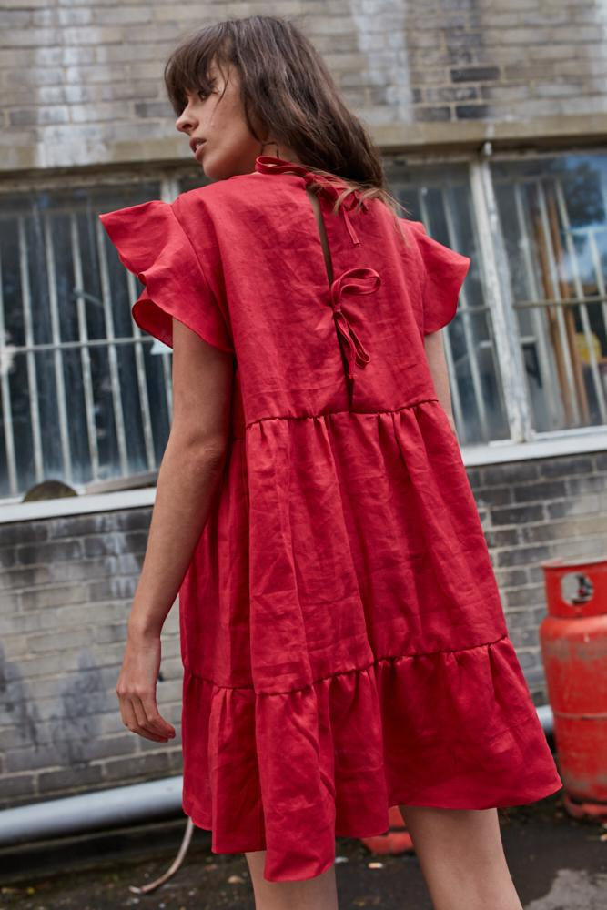 Ceres red linen tiered dress