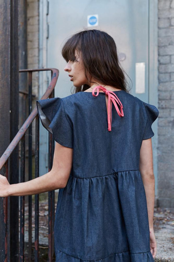 Ceres organic cotton denim tiered dress