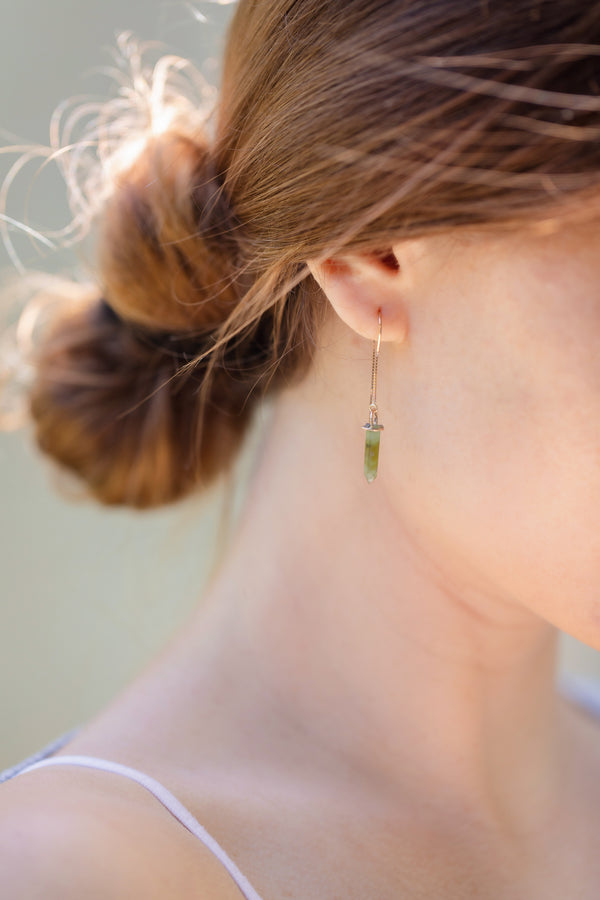 Jade Crystal Point Earrings