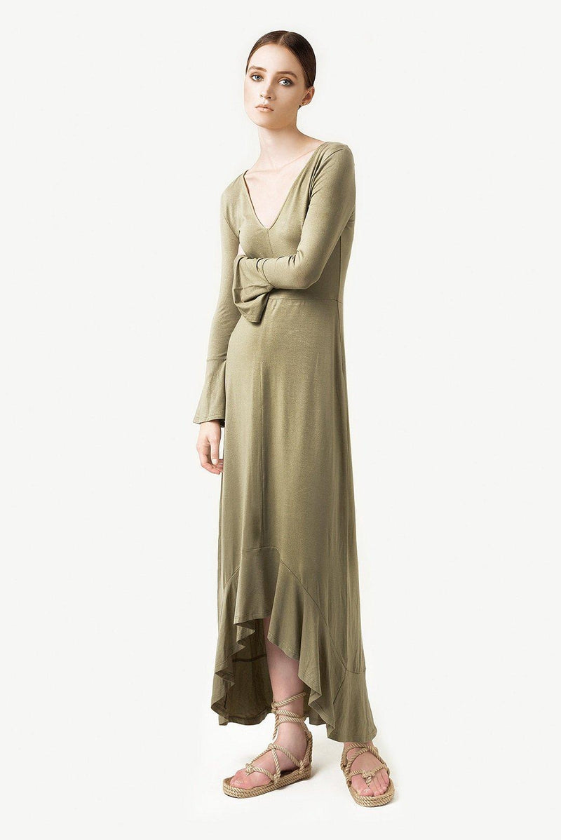 Tencel Flare Clover Dress - Green