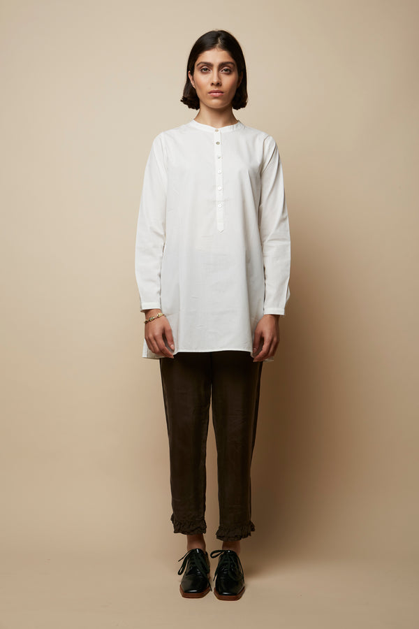 Side Button Opening White Tunic Shirt