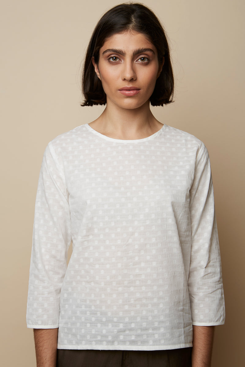 Embroidery Dotted White Organic Blouse