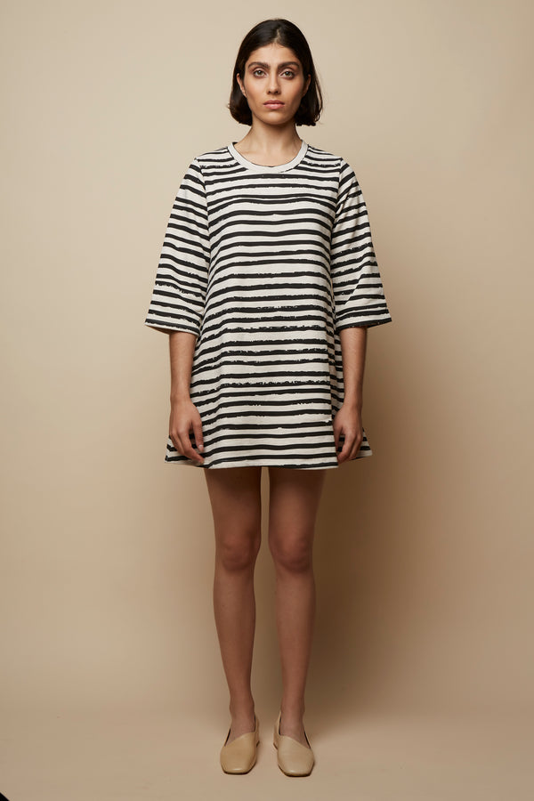 Distorted Striped Oversized Organic Dress