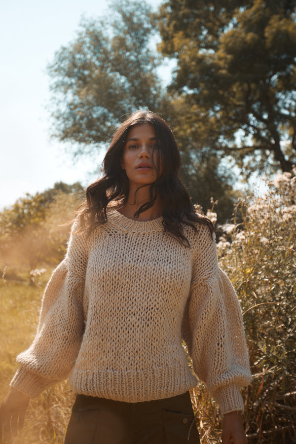Chunky Handknit Sweater 'Natural'
