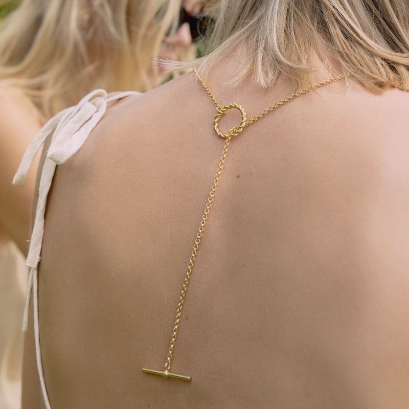 Corda T-Bar Necklace. Gold Vermeil.