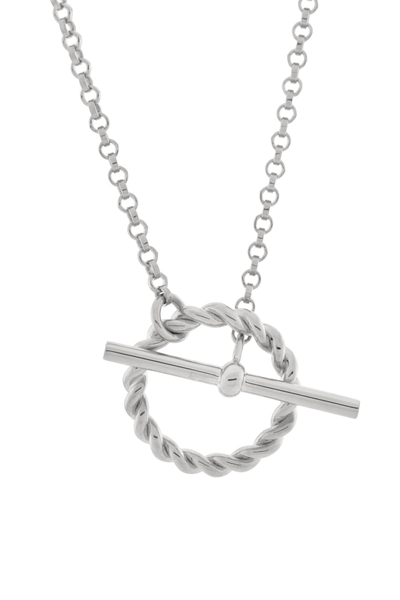 Corda T-Bar Necklace. Sterling Silver.
