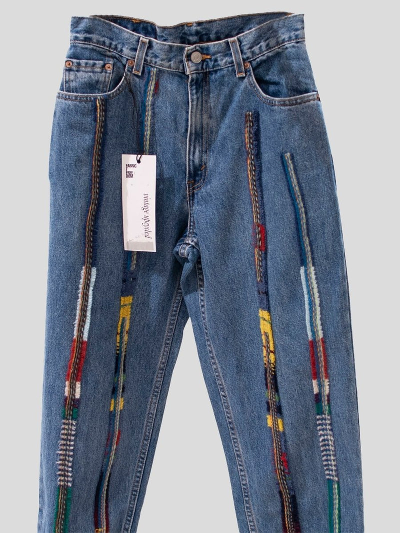 High Waisted Recycled Stripe Wool Jeans, Blue Denim | Fanfare Label?id=15372587204661