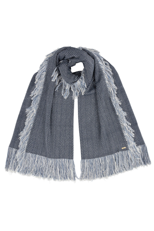 Giant Herringbone Double Fringe Throw Scarf Blue