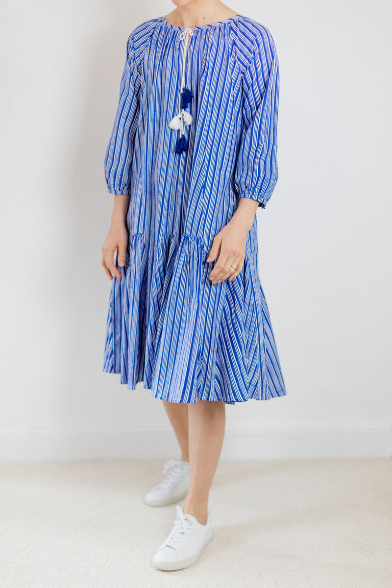 Indigo Stripe Fiesta Dress