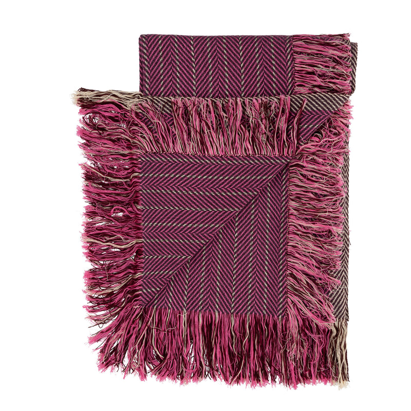 Giant Herringbone Double Fringe Throw Scarf Pink