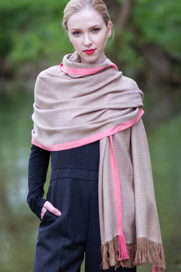 Hand Woven Cashmere Blend Neon Tipped Wrap
