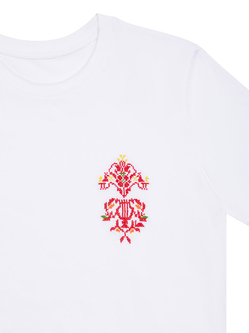 HAND EMBROIDERED HARP T-SHIRT