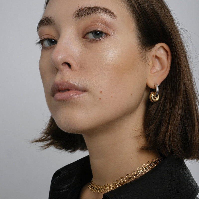 Hermione Hoop Earrings, Two-Tone.