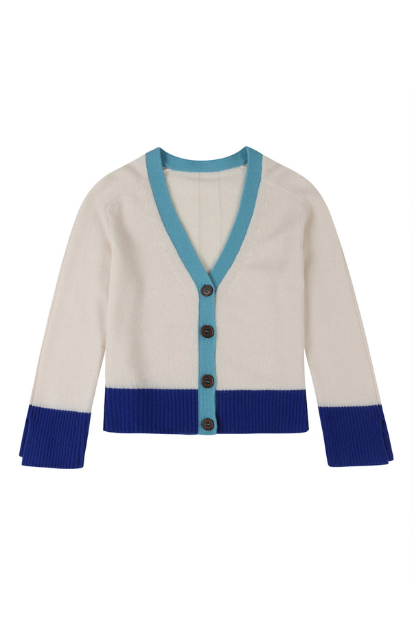 Lofty V Neck Cardigan in Snow Colourblock