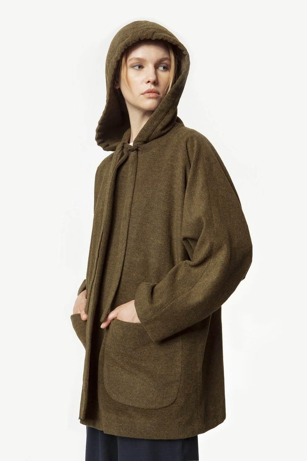 Khaki Green Merino Wool Midi Coat with Hood