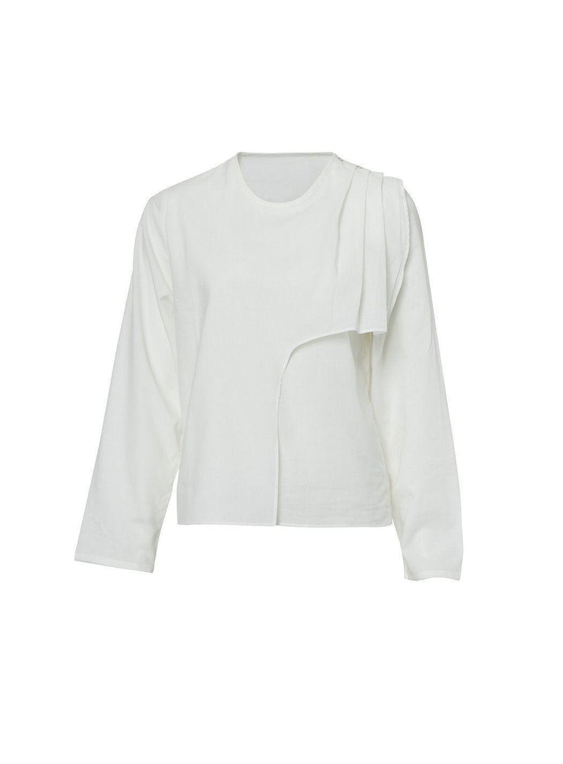Layered Organic White Pleated Shirt