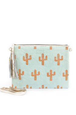 Baby Blue Cactus Clutch