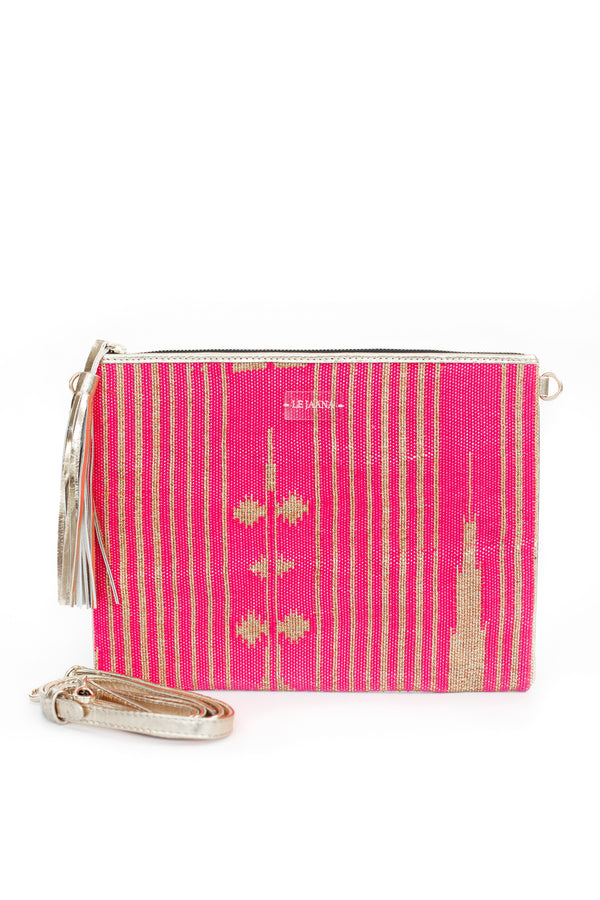 Neon Pink and Bling Clutch