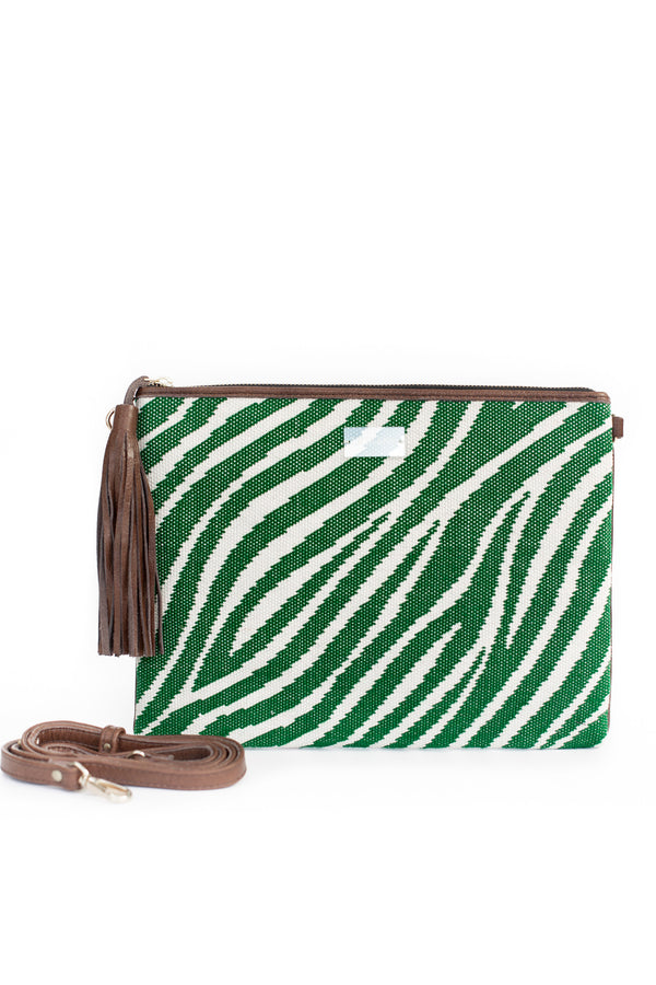 Green Zebra Print Clutch