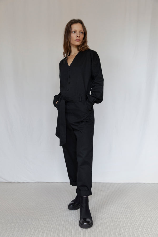 """Hoxton"" Black Long Sleeve Jumpsuit"