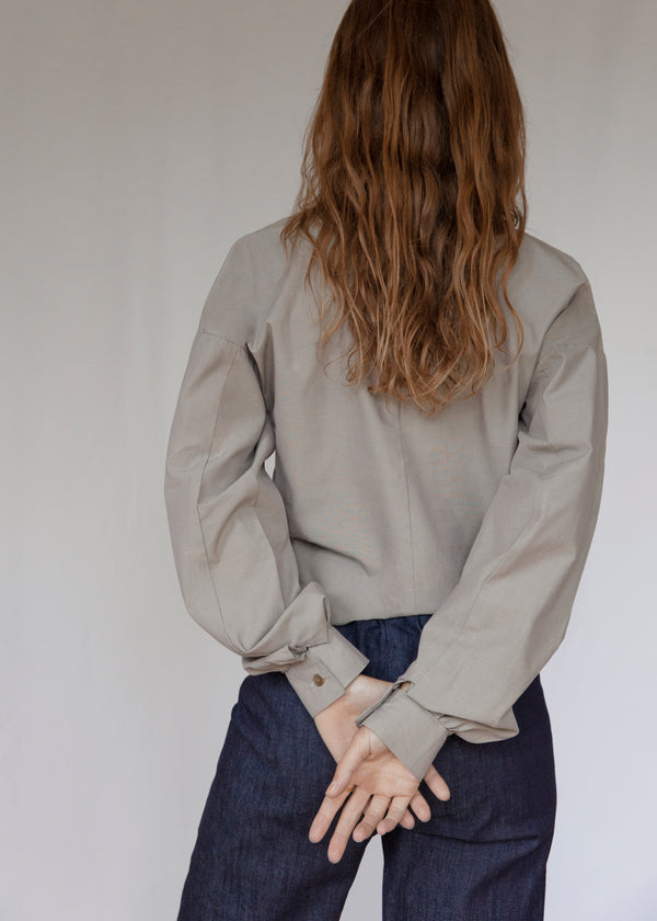 """The V"" Pyrite Organic Chambray Blouse"