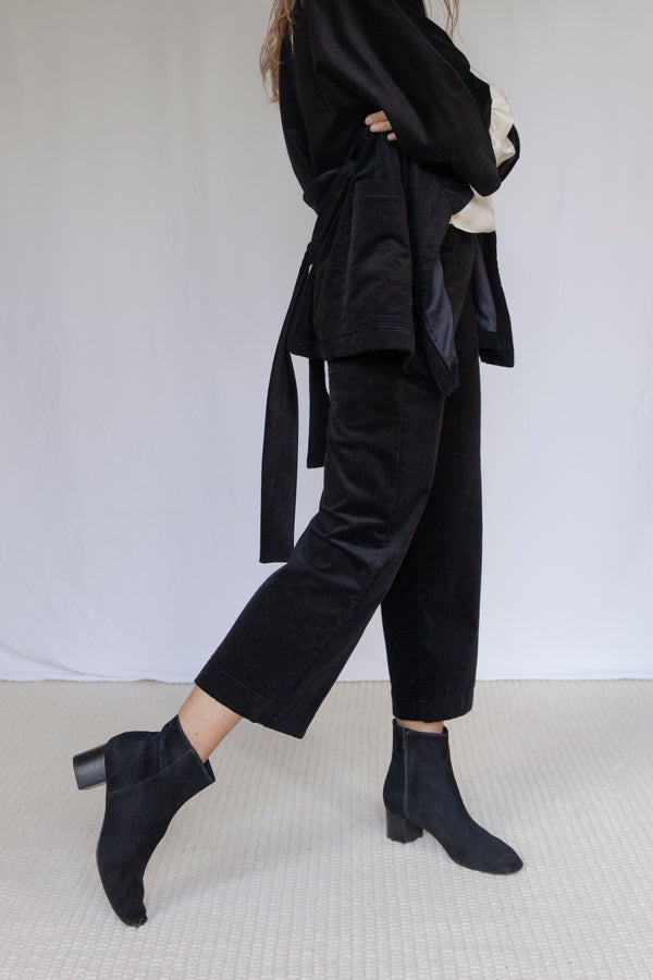"""Bloomsbury"" Black Velvet Corduroy Trousers"