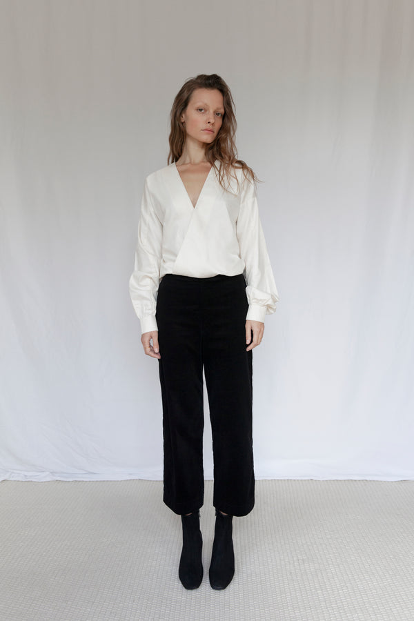 """The V"" Ivory Organic Sateen Blouse"