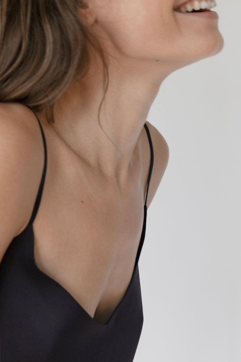 """The V"" Black Organic Bamboo Silk Camisole"