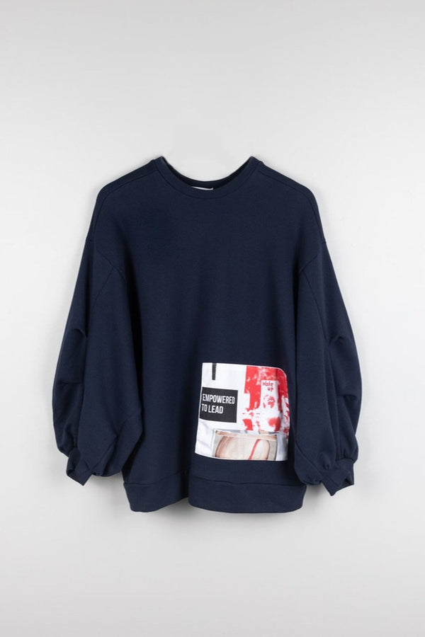 Organic Cotton Oversized Jumper With Patches, Navy