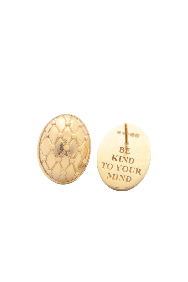 Be kind to your mind - gold confidence earrings