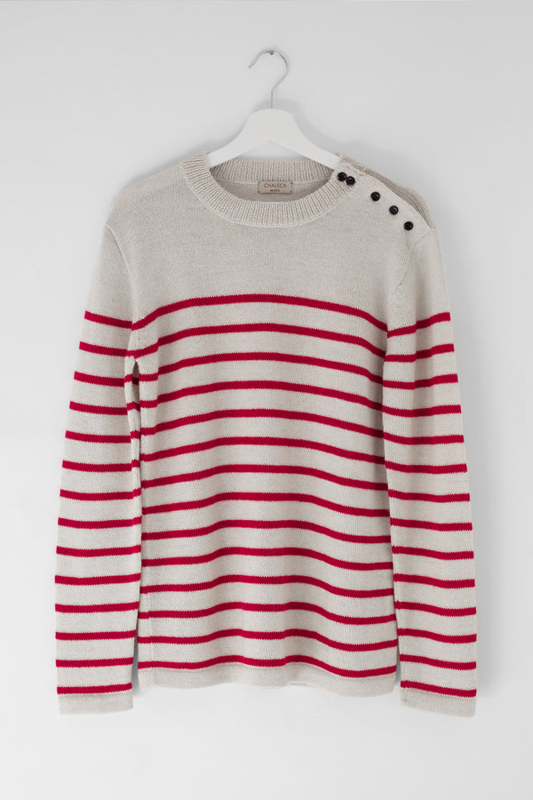 Fisherman's Jumper Natural White and Red